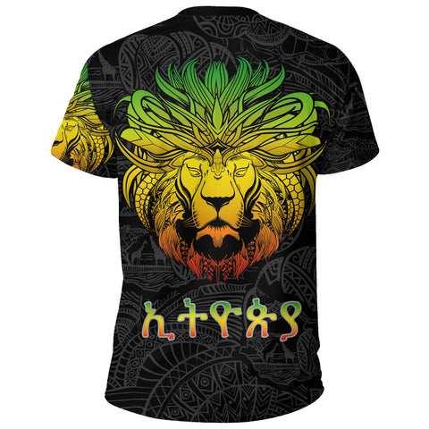 Image of 1stTheWorld Ethiopia T-shirt, Ethiopia Lion Pattern Africa A10