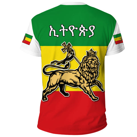 1stTheWorld Ethiopia T-shirt - Ethiopia Cloak Flag Lion King A10