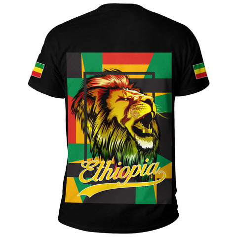 1stTheWorld Ethiopia T-Shirt , Ethiopia Lion Abstrato Black A10