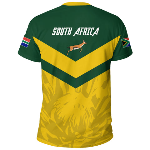 1stTheWorld South Africa T-shirt - South African Rising King Protea Yellow A10
