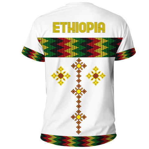 Image of 1stTheWorld Ethiopia T-shirt Rasta Round Pattern White A10