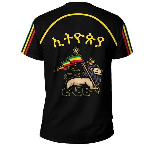 Image of 1stTheWorld Ethiopia T-Shirt Flag Lion Black A10
