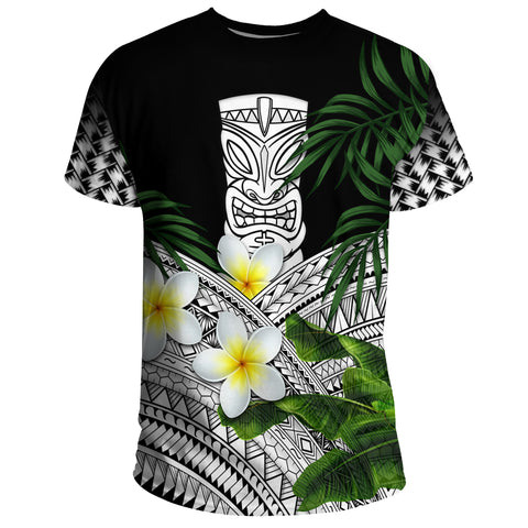 Hawaii T-Shirts, Polynesian Tiki Plumeria Banana Leaves White | Love The World