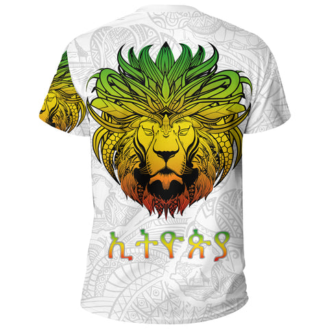 Image of 1stTheWorld Ethiopia T-shirt, Ethiopia Lion Pattern Africa White A10