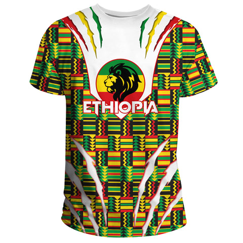 Image of 1stTheWorld Ethiopia T-shirt, Ethiopia Lion Scratch Africa Pattern A10