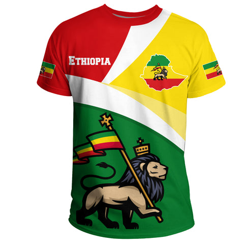 1stTheWorld Ethiopia T-shirt, Ethiopia Flag Maps Green Lion A10