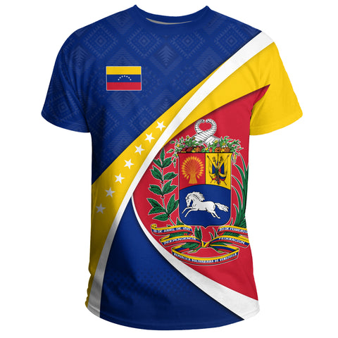 1stTheWorld Venezuela T-shirt, Venezuela Coat Of Arms Pattern A10