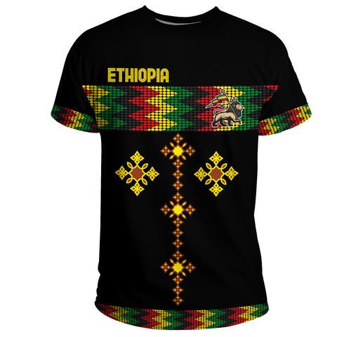 Image of 1stTheWorld Ethiopia T-shirt Rasta Round Pattern Black A10