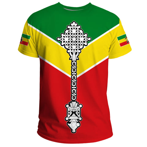 Image of Ethiopian T-shirt, Ethiopia Rising Coptic Cross Lion A10