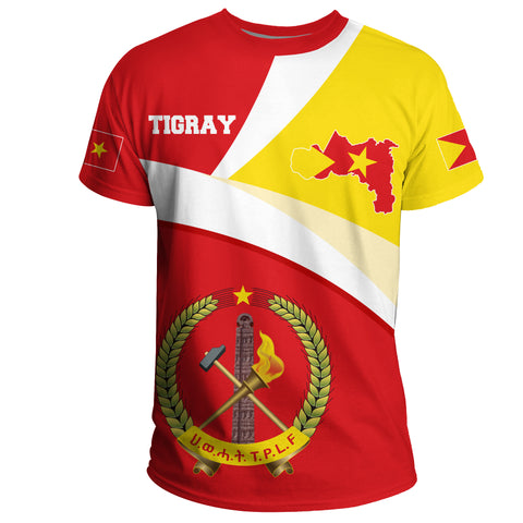 1stTheWorld Tigray T-shirt, Tigray Flag Maps Red A10