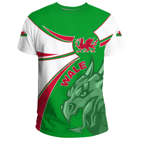 1stTheWorld Wales T-shirt, Wales Round Dragon Red A10