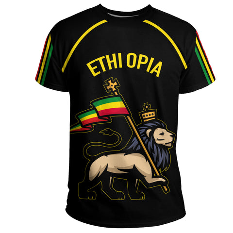 1stTheWorld Ethiopia T-Shirt Flag Lion Black A10