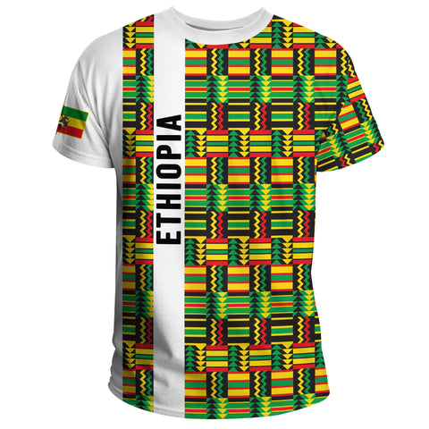 1stTheWorld Ethiopia T-shirt, Ethiopia Stripe African Pattern A10