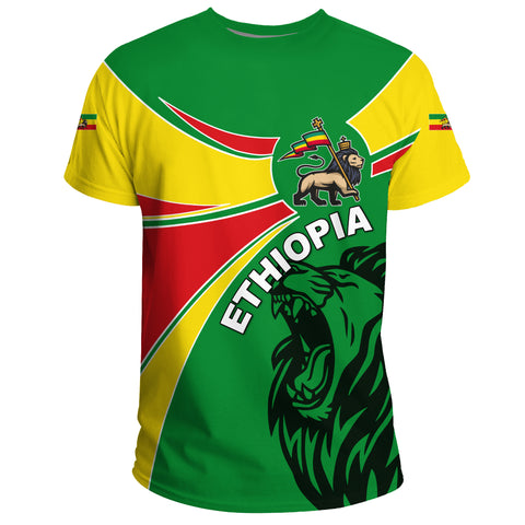 Image of 1stTheWorld Ethiopia T-shirt, Ethiopia Round Coat Of Arms Lion A10