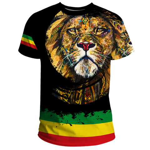 Image of 1stTheWorld Ethiopia T-shirt, Ethiopia Lion Addis Ababa Flag A10