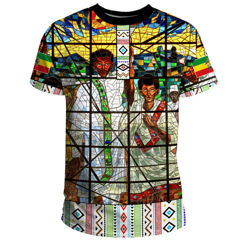 Image of Ethiopia T-Shirt, Ethiopian Orthodox Flag No Coat Of Arms A10