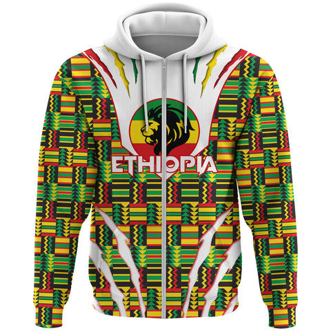 Image of 1stTheWorld Ethiopia Full Zip Hoodie, Ethiopia Lion Scratch Africa Pattern A10