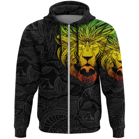 Image of 1stTheWorld Ethiopia Hoodie Zipper, Ethiopia Lion Pattern Africa A10