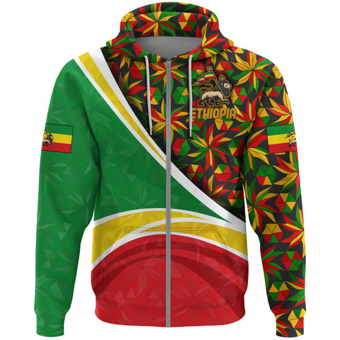 1stTheWorld Ethiopia Hoodie Zipper, Ethiopia Lion Of Judah Flag Rasta A10