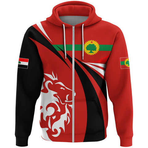 Image of 1stTheWorld Oromia Hoodie Zipper, Oromia Swirly Lion Flag A10