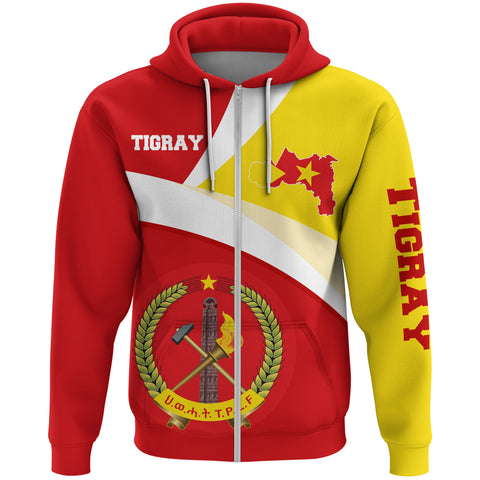 1stTheWorld Tigray Hoodie (Zip), Tigray Flag Maps Red A10