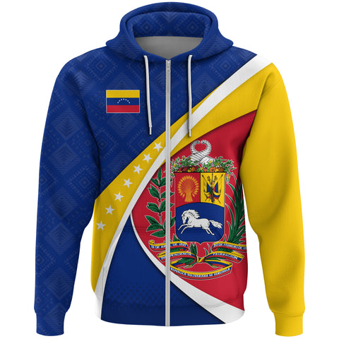 1stTheWorld Venezuela Hoodie, Venezuela Coat Of Arms Pattern (Zip) A10