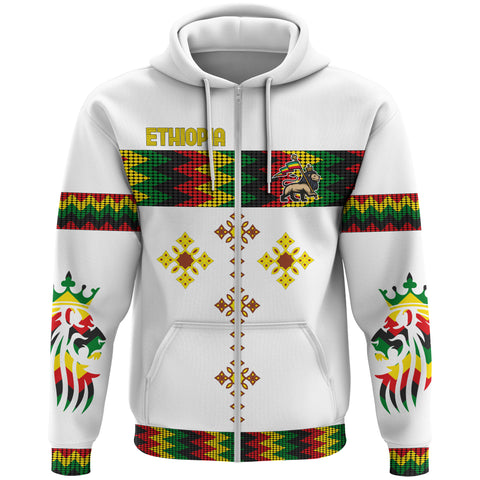 Image of 1stTheWorld Ethiopia Full Zip Hoodie Rasta Round Pattern White A10