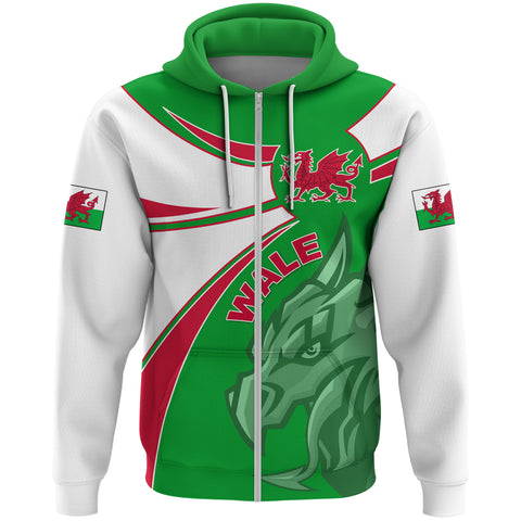 1stTheWorld Wales Hoodie Zipper, Wales Round Dragon Red A10