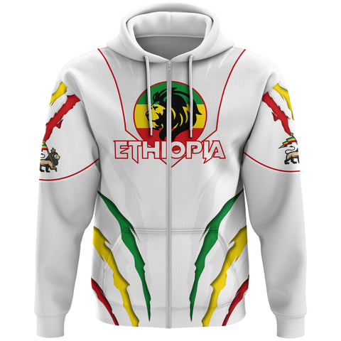 1stTheWorld Ethiopia Full Zip Hoodie, Ethiopia Lion Scratch A10