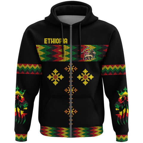 Image of 1stTheWorld Ethiopia Full Zip Hoodie Rasta Round Pattern Black A10