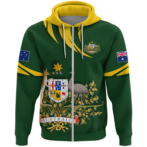 1stTheWorld Australia Zipper Hoodie, Australia Coat Of Arms Green A10