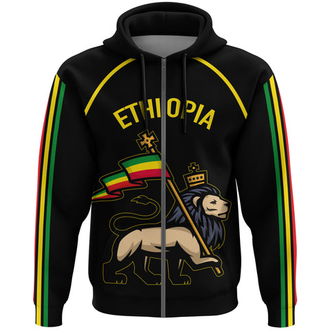 Image of 1stTheWorld Ethiopia Full-Zip Hoodie Flag Lion Black A10