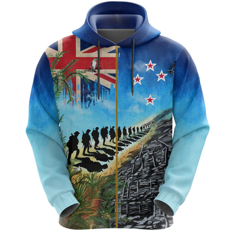 Image of New Zealand Anzac Day Zip Hoodie, New Zealand Lest We Forget | 1sttheworld