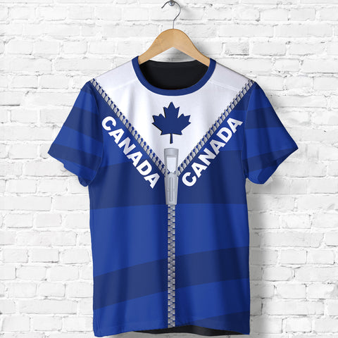 Canada T Shirt With Straight Zipper Style Blue