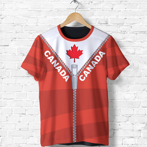 Canada T Shirt With Straight Zipper Style Red