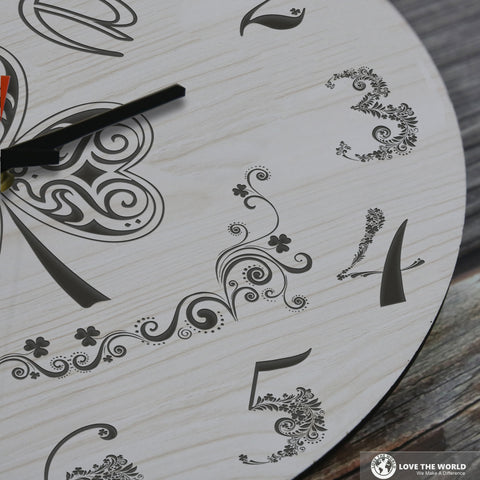 Shamrock Art Wooden Wall Clock