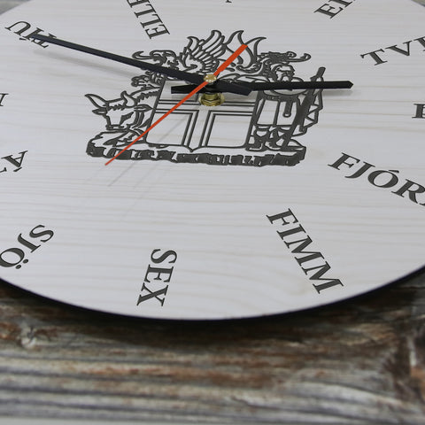 iceland wall clock, wooden wall clock, icelandic language, icelandic coat of arm wall clock