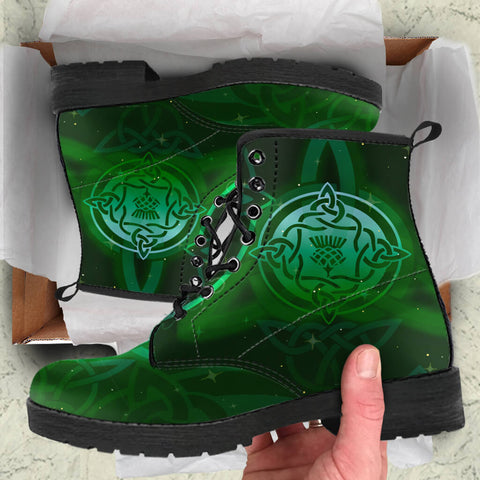 leather boots, boots, celtic, celtic boots, celtic leather boots, thistle, thistle boots