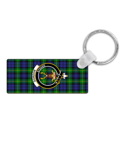 Image of Gordon Modern Tartan Clan Badge Rectangular Keyring K9 |Accessories| 1sttheworld