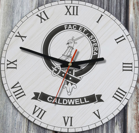 Caldwell Tartan Clan Badge Wooden Wall Clock HJ4