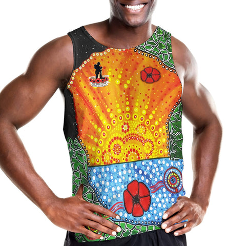 Aboriginal Australian Anzac Day Men Tank Top - Lest We Forget Poppy K4