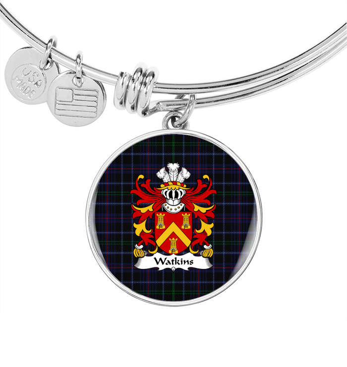 Wales Tartan Jewelries - Watkins (Of Pembrokeshire) Welsh Surname Bangle Circle Luxury Stainless