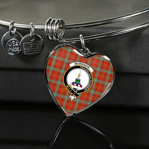 Morrison Red Ancient Tartan Silver Bangle - Sd1 Luxury Bangle (Silver) Jewelries