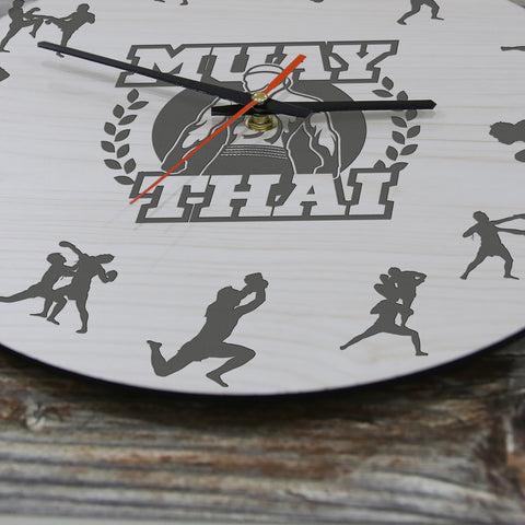 Muay Thai Wooden Wall Clock J2