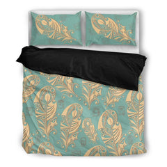 Feather Duvet Covers- Feather In Native American Style Bedding Set Black/ Beige NN8