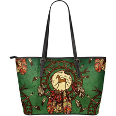NATIVE AMERICAN HORSE IN DREAM CATCHER LARGE LEATHER TOTE BAG 02 HA5