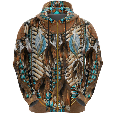 Image of Native American Breastplate Zip Hoodie K8