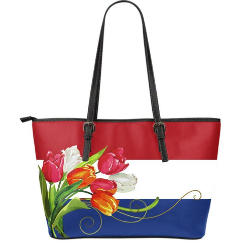 Tulip flower of netherlands leather tote - netherlands, holland tulips, tulip flower, holland tote bag, netherlands tote bag, tote bag, leather tote bag, tulips tote bag, online shopping
