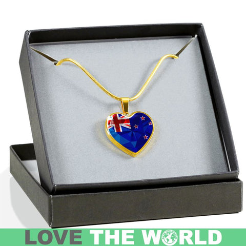 New Zealand Crystal Flag Heart-Shaped Jewelries F7 Luxury Necklace (Silver)