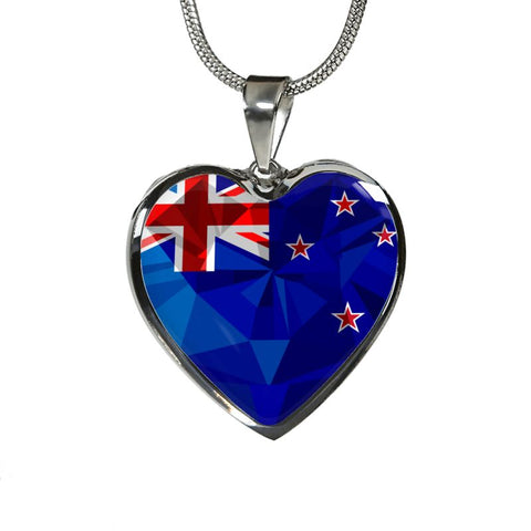 New Zealand Crystal Flag Heart-Shaped ( Necklace And Bangle) F7 Luxury Necklace (Silver) Jewelries